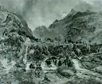 children near waterfalls and a mill in a mountainous    landscape by charles tattershall dodd the elder