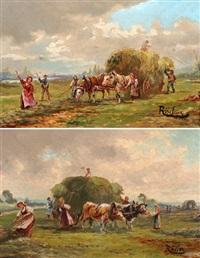 bauern bei der heuernte (pair) by carl röder