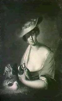 kvinna med duvor by leopold packh