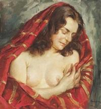 weiblicher halbakt mit rotem tuch by wilhelm hempfing