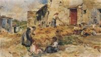 bauerndorf mit spielenden kindern und frauen bei der arbeit by alessandro battaglia