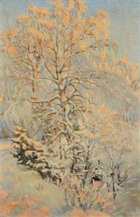 verschneite bäume im sonnenlicht by pavel petrovich sokolov-skalua