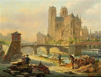 paris - blick auf die kathedrale notre-dame by victor vervloet