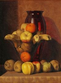 stillleben mit früchten und roter vase by rino gaspare battaini