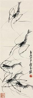 墨虾 立轴 水墨纸本 by qi liangchi