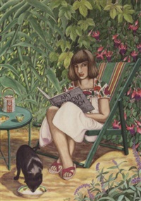 a young lady reading art without epoch with her cat by her side by gordena p. jackson