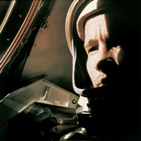ed white in the capsule, the first in-flight portrait of an astronaut, gemini 4 by james mcdivitt
