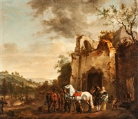 jagdgesellschaft, an einer ruine rastend by philips wouwerman