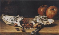 stilleben mit äpfeln und kastanien by hermina van der haas