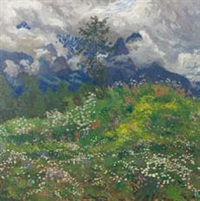 alpine landscape with wild flowers by carl reiser