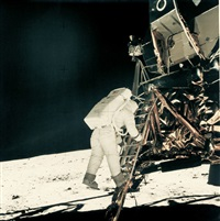 buzz aldrin descending apollo 11 lm ladder by neil armstrong