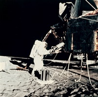 buzz aldrin unpacks experiments from the lm, apollo 11 by neil armstrong