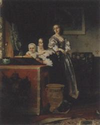 interieur mit frauen und kind by johann cornelius mertz