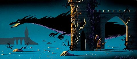 maleificent as a dragon behind the castle walls concept painting from sleeping beauty by eyvind earle