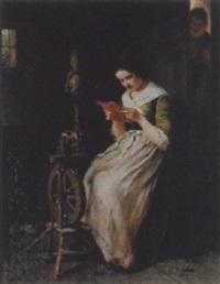 junge frau mit spinnrad, einen brief lesend by august heinrich niedmann