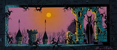 the evil maleficient standing on the balcony beneath an arch of the castle with the sun setting in the background concept painting from sleeping beauty by eyvind earle
