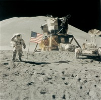 apollo 15 commander james irwin gives a military salute beside the u.s. flag, apollo 15 by david scott