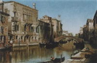 venedig - kanal mit booten und figurenstaffage by henry courtney selous