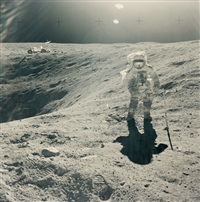 charles duke at the rim of plum crater, apollo 16. april by john young