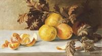 stillleben mit orangen und eichenlaub by jakob lehnen