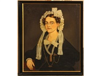 a portrait of a woman wearing a lace bonnet with bow by alexander hamilton emmons