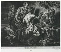 jupiter und mercur mit philemon und baucis (after c. loth) by jakob männl