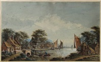 village at a riverside with boats, a city in the background by theodor (dirk) verryck