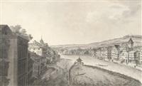 vue de la ville de zuric, prise à l'auberge de l'epée, du coté de l'occident (etched by b.a. dunker) by johann jakob aschmann