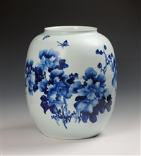 peony blue and white vase by xu guoqin