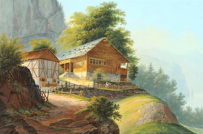 vue du rutli au lac des quatre cantons by johann ludwig louis bleuler