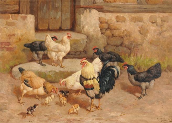 hahn hühner und küken by william baptiste baird
