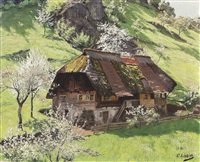 schwarzwaldhof in sommerlicher landschaft by curt liebich