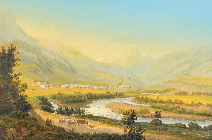 vue du village de zillis dans la vallée de schams en venant de via mala by johann ludwig (louis) bleuler