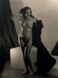 female nude standing (+ female nude kneeling, smaller; 2 works) by josef vetrovsky