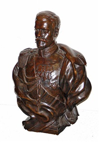 a portrait bust: czar nicholas ii (1868-1918) by leopold bernhard bernstamm