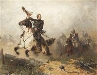 husaren auf dem marsche by hans von marées