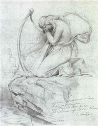the mournful harpist by emanuel gottlieb leutze