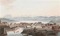 vue d'une partie de fauxbourg de la ville de zurich prise du rempart a zurich by johann heinrich bleuler the elder