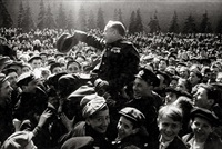 victory celebration in red square, moscow, the day after the german surrender, may 9, 1945 by mikhail trachman