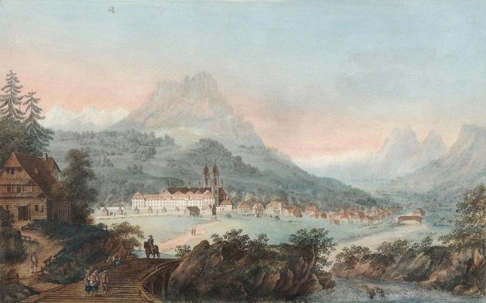 vue de labbaye deinsiedlen et de ses environs dans le canton de schweitz etched by m wocher by gabriel ludwig lory