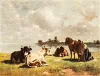 landschaft mit kühen by wilhelm friedrich frey