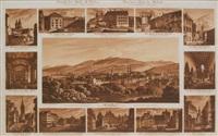 st. gallen. vom rosenberg gegen dem freudenberg aufgenommen (13 works in 1 frame) by johann baptist isenring