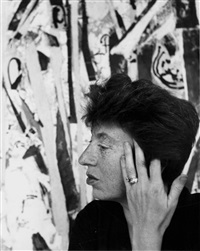 lee krasner (1908 - 1984) in her studio by hans namuth