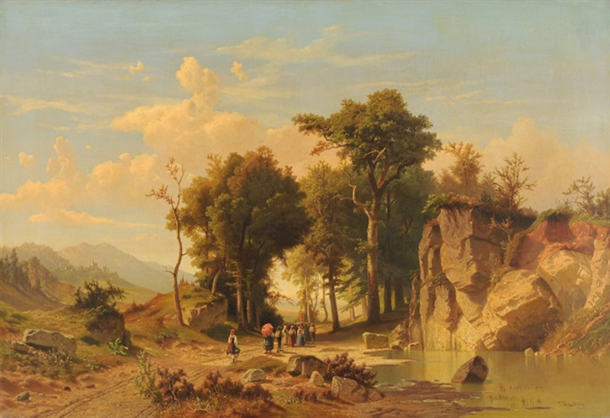 prozession in der landschaft by johann (jan) kautsky