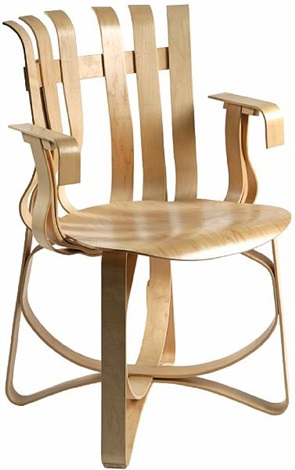 high sticking sidechair and hat trick armchair by frank gehry