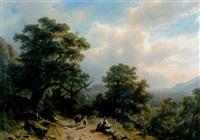 landschaft bei bellinzona mit tier- und figurenstaffage - im hintergrund das castell grande by giovanni (johann) varone