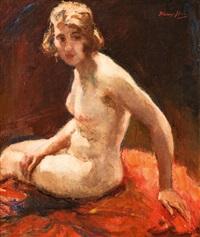 weiblicher akt, sitzend by wilhelm hempfing