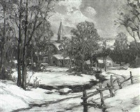 village under fresh snow by frank ward kent