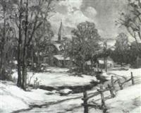 village under fresh snow by frank ward kent