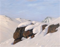 felsige winterlandschaft by hans am ende